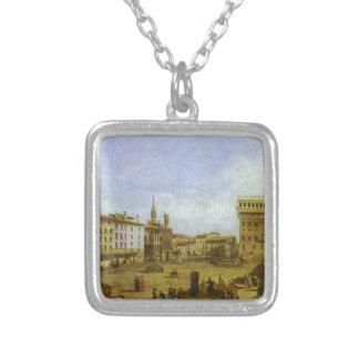 Quadrado de Signoria em Florença por Bernardo Colar Com Pendente Quadrado