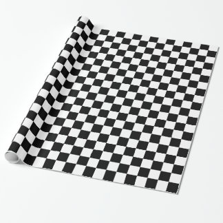Quadrados Checkered preto e branco Papel De Presente