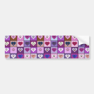 Quadrados cor-de-rosa & roxos do coração do smiley adesivo para carro