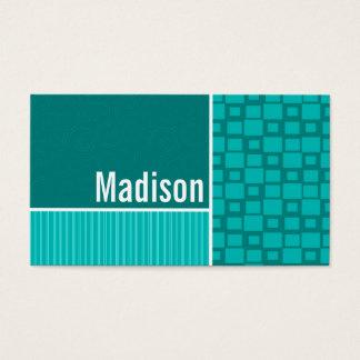Quadrados de turquesa; Quadrado retro Cartão De Visitas
