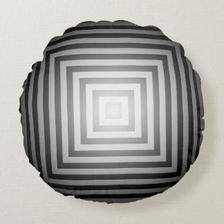 Quadrados preto e branco do brilho almofada redonda