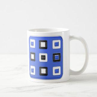 Quadrados retros do azul, os pretos & os brancos caneca de café