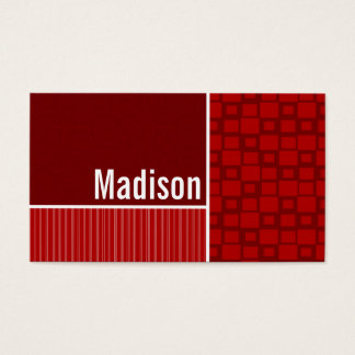 Quadrados retros vermelhos cartão de visitas