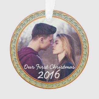 """Quadro celta do nó & """"nosso primeiro Natal """" Ornamento"""