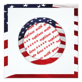 Quadro da foto do círculo da bandeira americana convite quadrado 13.35 x 13.35cm