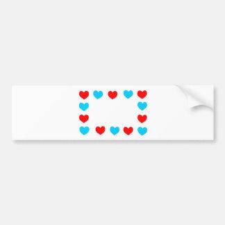 Quadro de corações do papel vermelho e azul com adesivo para carro
