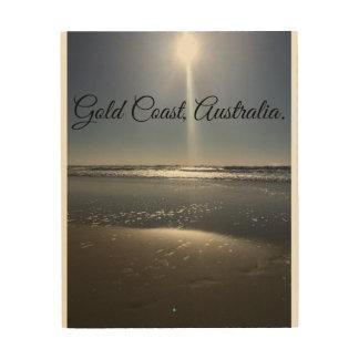 """Quadro De Madeira 8"""" por 10"""" praia de madeira da luz solar da manhã"""