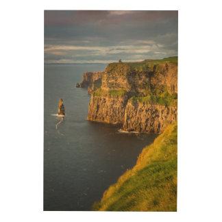 Quadro De Madeira Litoral de Ireland no por do sol