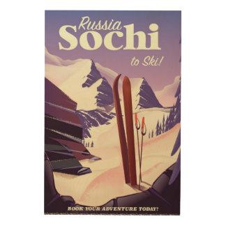 Quadro De Madeira Poster de viagens do esqui de Sochi Rússia