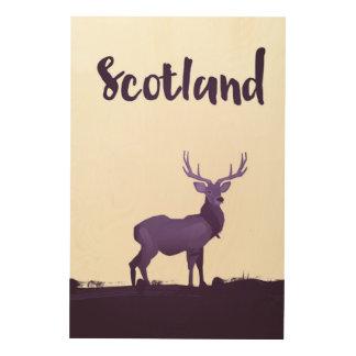 Quadro De Madeira Poster de viagens selvagem da tinta do veado de