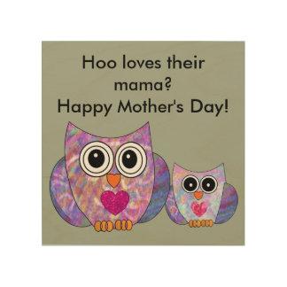 Quadro De Madeira Sinal feliz da coruja de dia das mães