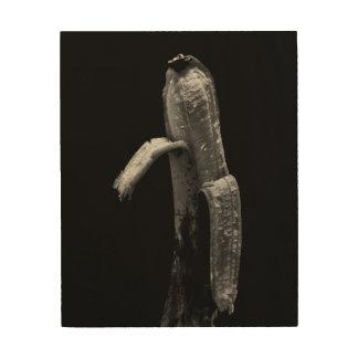 Quadro De Madeira Vida preto e branco da banana ainda