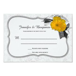 Quadro de prata branco DamaskRSVP do preto amarelo Convite 8.89 X 12.7cm