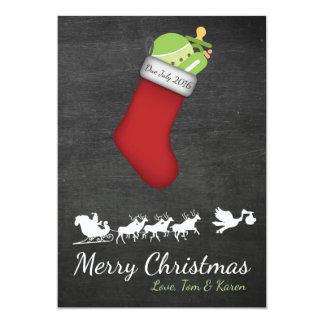 Quadro do anúncio da gravidez do cartão de Natal Convite 12.7 X 17.78cm