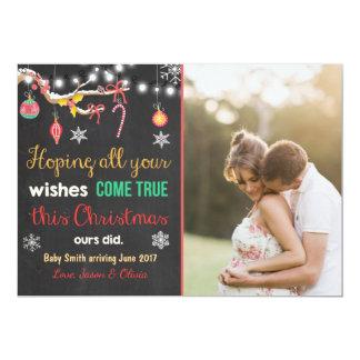 Quadro do cartão do anúncio da gravidez do Natal Convite 12.7 X 17.78cm