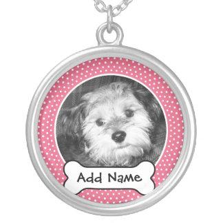 Quadro do modelo da foto do cão de estimação colar banhado a prata