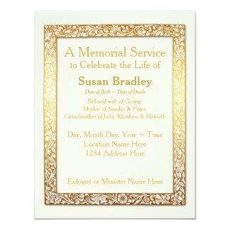 Quadro dourado do vintage - cerimonia comemorativa convite 10.79 x 13.97cm