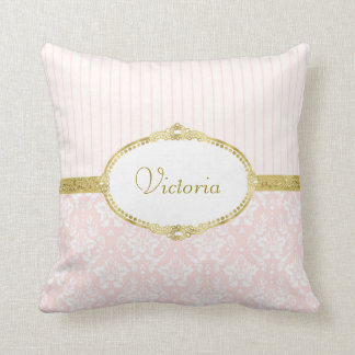 Quadro e nome cor-de-rosa elegantes do ouro do almofada