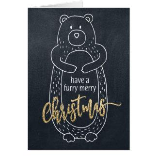 Quadro engraçado do urso do cartão de Natal