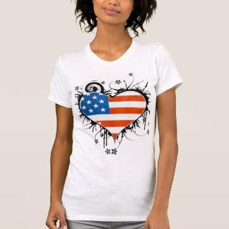 Quadro floral sujo do coração da bandeira dos EUA Camiseta