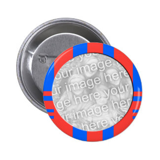 quadro listrado azul e vermelho da foto bóton redondo 5.08cm