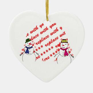 Quadro nevado da foto dos queridos ornamento de cerâmica coração