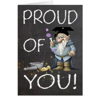Quadro orgulhoso de você graduação com gnomo cartão comemorativo