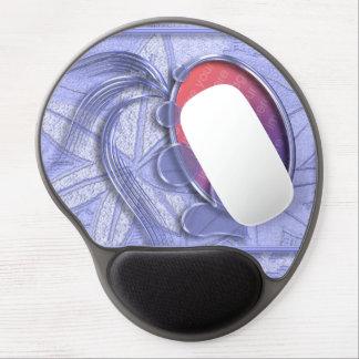Quadro oval da foto do coração gráfico azul da per mouse pad em gel