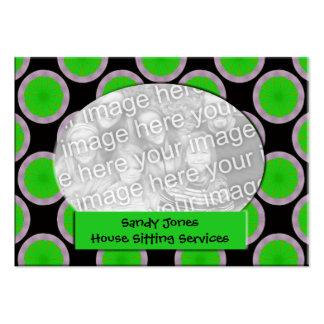Quadro verde e preto da foto do círculo cartão de visita grande