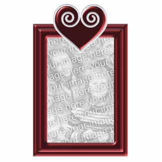 Quadro vermelho do coração da folha do ornamento f esculturafoto