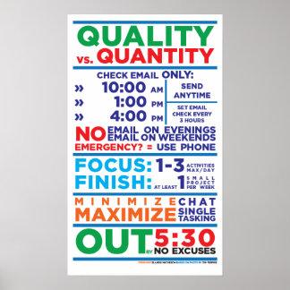 Qualidade contra trabalhos da quantidade pôsteres