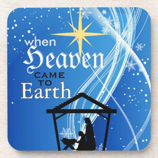 """""""Quando o céu veio Natal da natividade à terra"""" Porta-copos"""