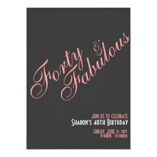Quarenta & convite fabuloso do aniversário