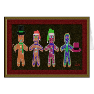 Quarteto dos homens de pão-de-espécie cartao