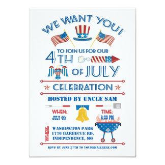 Quarto do convite da celebração de julho convite 12.7 x 17.78cm