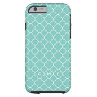 Quatrefoil clover pattern blue teal 3 monogram tough iPhone 6 case