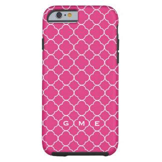 Quatrefoil clover pattern hot pink 3 monogram tough iPhone 6 case