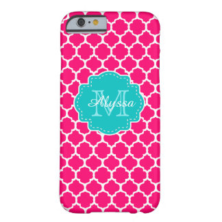 Quatrefoil cor-de-rosa azul personalizado capa iPhone 6 barely there