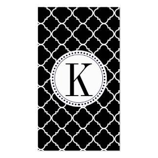 quatrefoil preto e branco corajoso cartão de visita