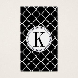 quatrefoil preto e branco corajoso cartão de visitas