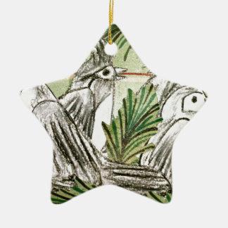 Quatro pássaros de chamada ornamento de cerâmica estrela
