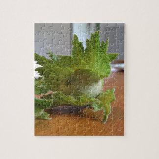 Quebra-cabeça Avelã verdes frescas em uma mesa de madeira