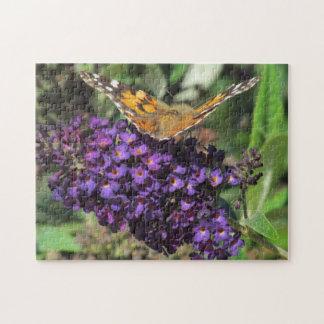 Quebra-cabeça - borboleta na flor roxa quebra-cabeças