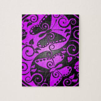 Quebra-cabeça Borboletas, roxo & preto de Yin Yang