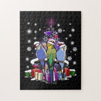 Quebra-cabeça Budgerigars com presente e flocos de neve do Natal