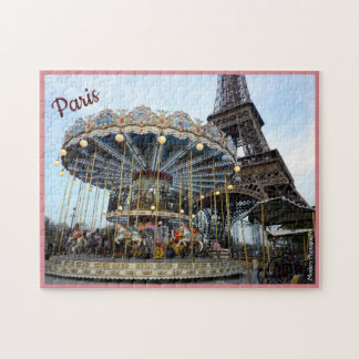 Quebra-cabeça Carrossel de Paris (& torre Eiffel) com texto