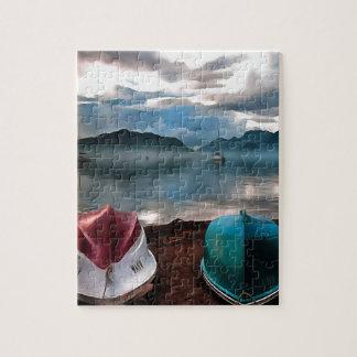 Quebra-cabeça Cascas dos barcos e do Seascape do inverno de