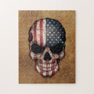 Quebra-cabeça Crânio envelhecido e vestido da bandeira americana