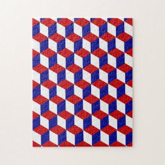 Quebra-cabeça - ilusão do bloco em vermelho, em br quebra-cabeças