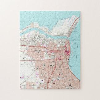 Quebra-cabeça Mapa do vintage de Corpus Christi Texas (1968)